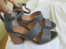CORSO COMO DOUBLE STRAP LEATHER STACKED HEEL SANDALS, SIZE 8M