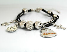 Genuine Braided Leather Charm Bracelet With Name - SIENNA - Gifts for her