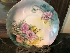 Hand painted floral china saucer with gold trim Limoge style