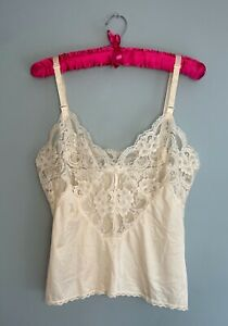 VTG Lorraine Camisole Slip Top Lace Bodice sz 34 Made In USA Ivory Nude Sheer Sm