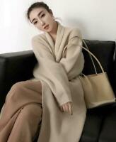 Womens Cashmere Wool Blend Knitted Sweater Cardigan Outwear Warm Long Coat Sz