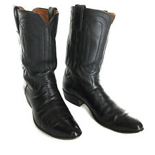 Justin Boots 10 B Narrow Black Cow Hide Leather Cowboy Pull On Mens Western 7020