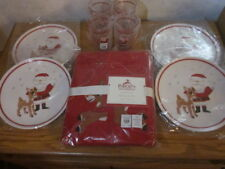 9pc Pottery Barn Kids Santa Rudolph Reindeer Tablecloth Plates Tumbler Cups NWT