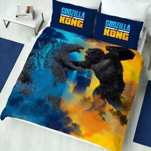 Godzilla Vs Kong Single Bedding Set Two-sided Duvet Cover Cityscape Battle