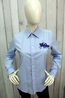 RALPH LAUREN Donna Taglia L Camicia Blu Logo Shirt Casual Cotone Manica Corta