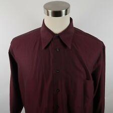 Pronto Uomo Mens Non Iron LS Button Down Solid Maroon Dress Shirt 17 32/33