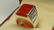 Natural Yemeni Brown Agate Women Ring Sterling Silver 925 Handmade Aqeeq Ring