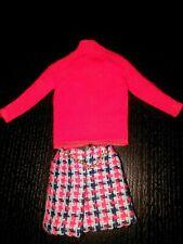 Vintage Mod Barbie Red Shirt Plaid Skirt 3408 Super Scarf Released 1971