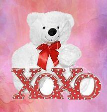 Valentine Day Stuffed White Teddy Bear Soft Plush 14 inch Tall XOXO Sign Gift