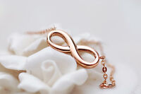 Women Infinity Necklace Chain 18k Rose Gold Filled Eternity Gift Pendant 3 Color