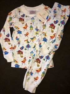 NWT HANNA ANDERSSON ORGANIC LONG JOHNS PAJAMAS WINTER BIRDS HOUSES 120 6 7 NEW