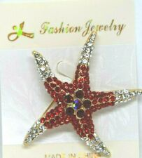 day ocean gold tone fun #1 Starfish red Color gift rhinestones valentines