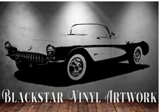 "1957 CHEVROLET CORVETTE ROADSTER LARGE DECAL WALL ART 23"" X 50"""