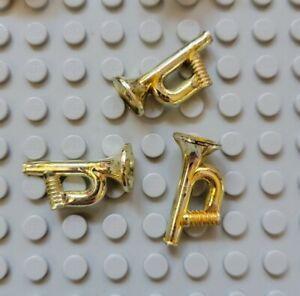 LEGO Minifigure Utensil Bugle Horn Chrome Gold 6761 3739 6762 trumpet Lot of 3