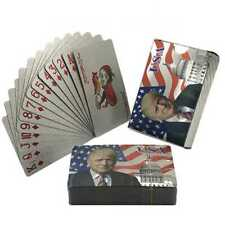 Waterproof Plastic Playing Cards Color Silver Foil Donald Trump Poker Deck Game