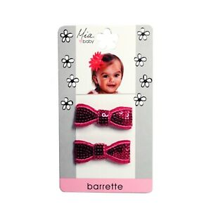 Mia Baby + Girl Sparkly Sequins Bow Barrettes 2pcs