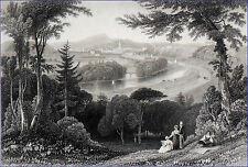 ÉCOSSE - INVERNESS et la NESS vus des collines environnantes - Gravure du 19e s.