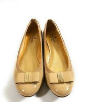 Kate Spade New York Women Patent Leather Nude Slip On Bow Flats Shoes Size 9 M