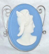 Vintage Sterling Blue Jasperware Wedgwood Ornate Mercury Roman Profile Brooch