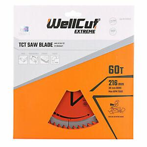 WellCut TCT Saw Blade 216mm x 60T x 30mm Bore For LS0815, DWS777, DWS774, C8FSR
