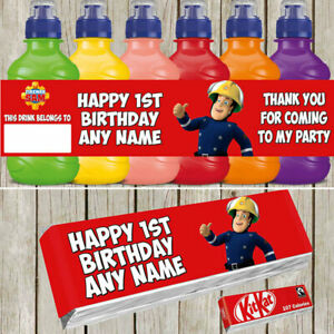 x7 Fireman Sam Personalised Self Adhesive Fruitshoot KitKat Label Birthday Party
