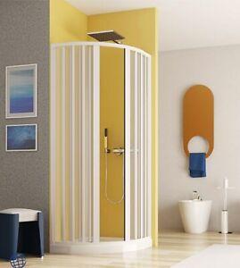 Box doccia semicircolare,misura cm80x80,cabina a soffietto con apertura centrale