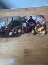 Set of 2 Place Mats Vintage Retro Alcohol Design Wine Sherry etc.