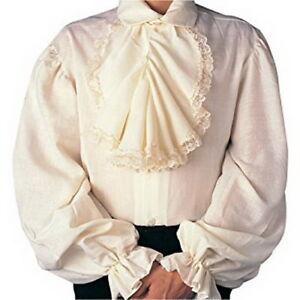 Colonial Shirt Men's Ivory 18th Century Ruffled Collar Period Costume Shirt  XL
