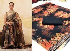 Black Floral Printed Designer Bollywood Saree Indian Pakistani Sari