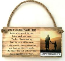 PERSONALISED PHOTO BEREAVEMENT MEMORIAL REMEMBRANCE POEM QUOTE PLAQUE SIGN LOVED