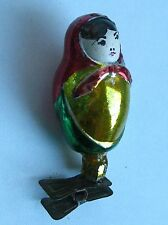 """Vintage Russian Christmas silver Glass Ornament """"Russian Doll"""""""