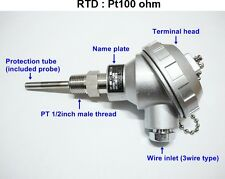 RTD(resistance temperature detect)with head Pt100ohm Probe Sensor PT1/2'' 50mm