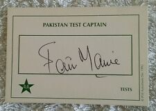 "SALEEM MALIK CRICKET SIGNED IN PERSON TEST CARD ""BUY GENUINE"""