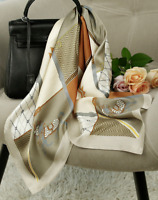 "100% Mulberry Silk 25"" Scarf Women neckerchief Shawl Wrap beige brown QS152-1"