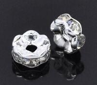 150 Versilbert Weiß Strass Spacer Perlen Beads 5mm D.