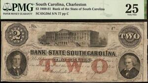 1861 $2 DOLLAR LOW # 77 SOUTH CAROLINA BANK NOTE LARGE CURRENCY PAPER MONEY PMG