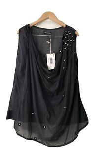 True Religion Top Size 4= Aus 14 Black BNWT Sleeveless With Mirror Appliqué