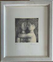 ANTONIO BUENO litografia Le Due Amiche 28x24 firmata autentica + cornice