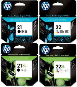 GENUINE HP21 / HP21XL / HP22 / HP 22XL INK CARTRIDGES, CHOICE OF 4 TYPES