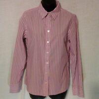 BANANA REPUBLIC Women's Size 6 Stretch Non Iron Fitted Purple Button Down Shirt