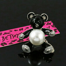 Betsey Johnson Black & White Enamel Little Bear Pearl Tummy Brooch Pin