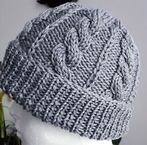 Hand Made Knitted Cable  Hat /Merino blend/one size/Grey