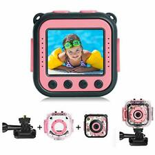 Prograce Kids Action Camera Waterproof Digital Video LCD Screen 1080P (Pink)