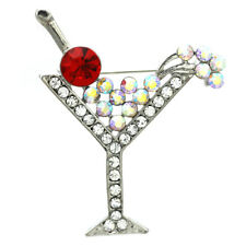 Party Cocktail Martini Glass Red Clear Stone Crystal Brooch Pin Silver Tone CMR