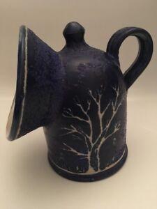 Stone Ware Blue Salt Pig - Tree Design (A9)