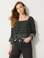 M&S Marks Spencer Womens Black Print Boho Long sleeve Blouse Top
