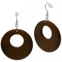 1 Paar Holz Ohrringe schön gemasert organisch natürlich braun Ohrhänger Damen