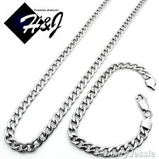 "24""MEN's Stainless Steel 7mm Silver Tone Cuban Curb Chain Necklace Bracelet SETS"
