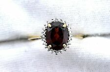 10Kt REAL Yellow Gold 9x7 Oval Natural Garnet Diamond Gem Stone Cocktail Ring