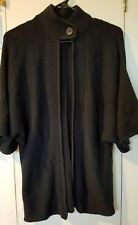 Vertical Design Women's S Black Dolman Sleeve Single Button Neck Bolero Sweater